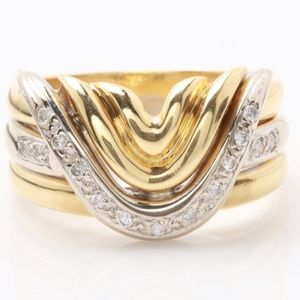 TRIPLE BAND ESTATE RING IN 18K Y/W GOLD & DIAMOND